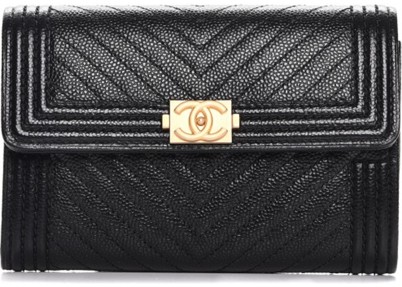 63bbadea9789 Chanel Boy Flap Wallet Quilted Chevron Small Black. Quilted Chevron Small  Black