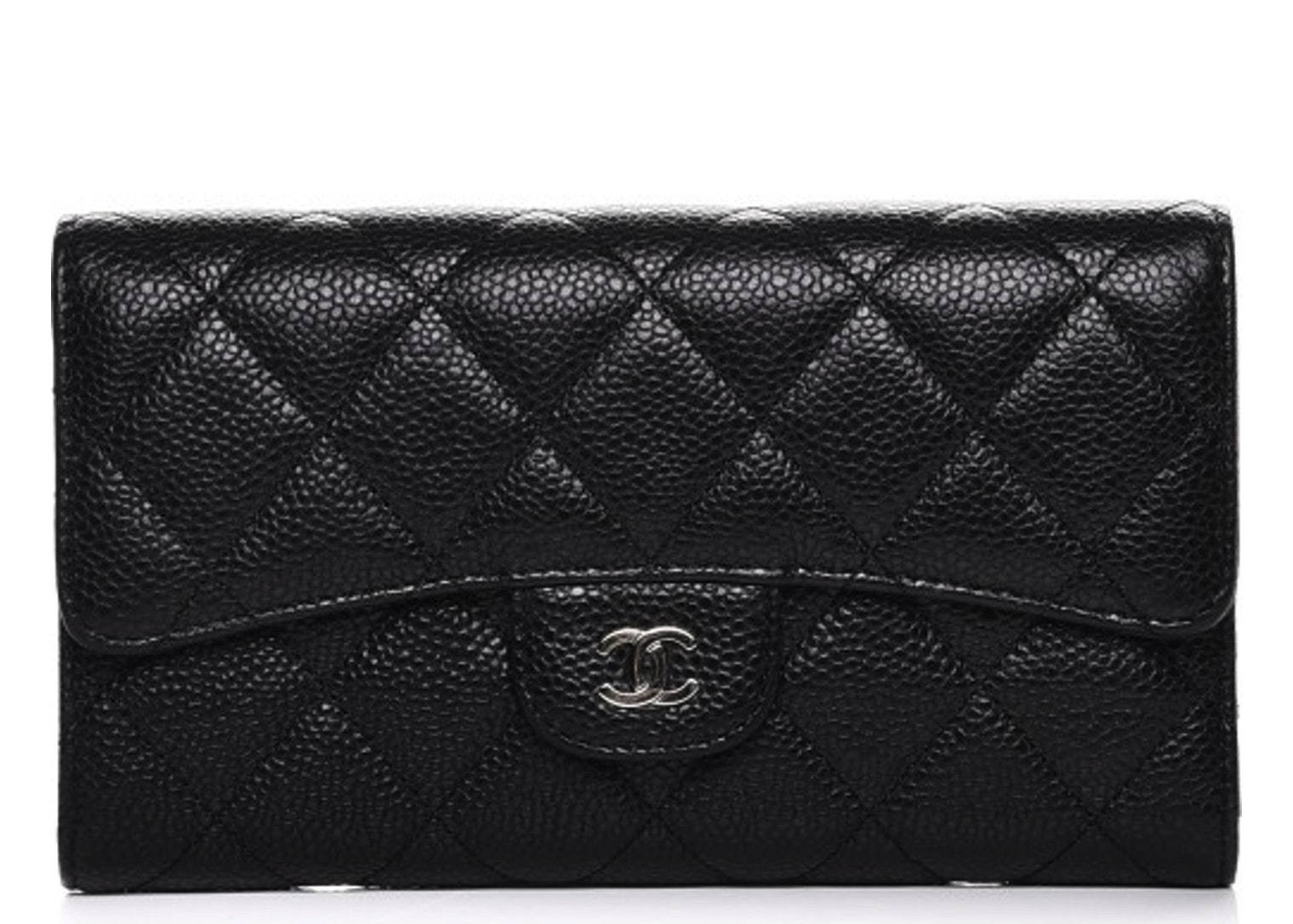 Chanel Flap Wallet Quilted Diamond Large Black