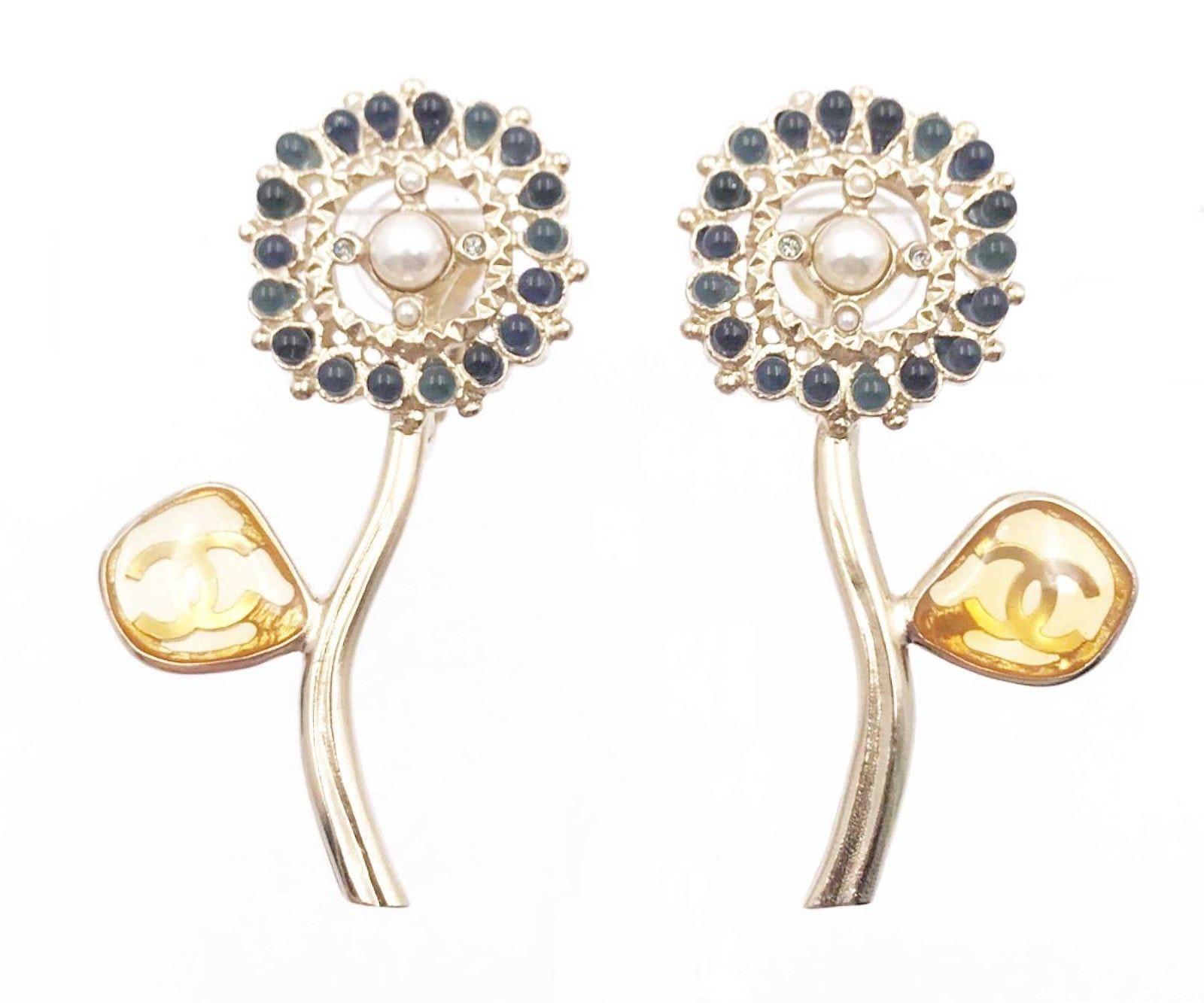 Chanel Flower Clip On Earrings Blue/Silver