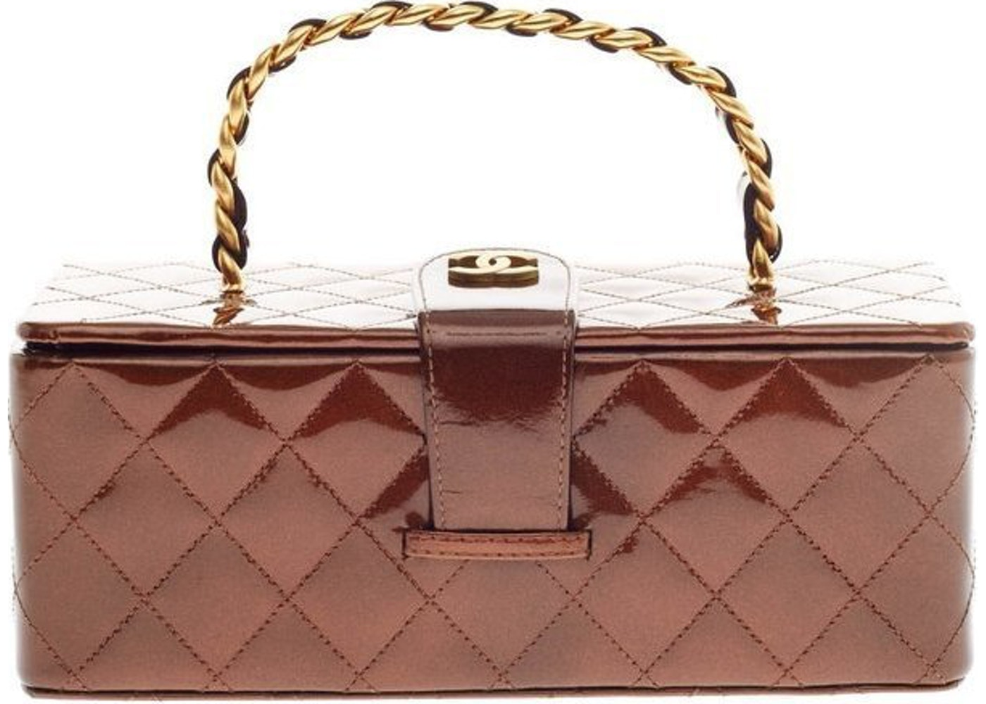 90a277ee83b3 Chanel Frame Box Vintage Top Handle Quilted Brown