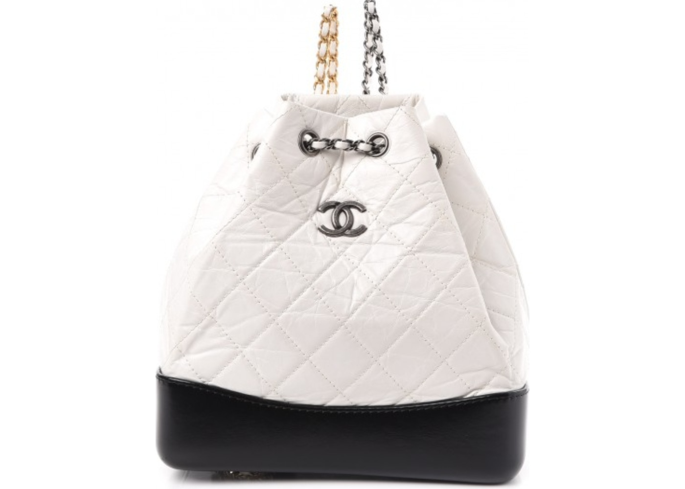 Chanel Gabrielle Backpack Quilted Diamond Small White Black. Quilted  Diamond Small White Black 958d44892e4e2