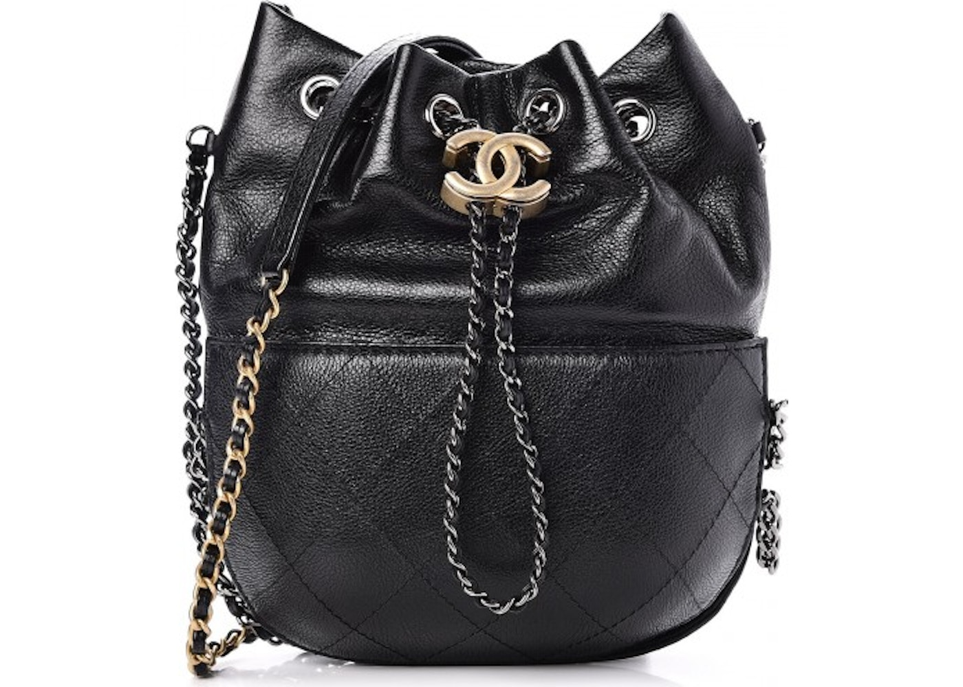 f6ef19840370 Chanel Gabrielle Bucket Bag Quilted Diamond Small Black