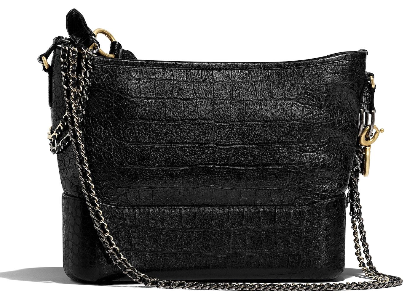 21f974d4fda1e2 Chanel Gabrielle Hobo Bag Crocodile Embossed Calfskin Gold/Silver-tone Black