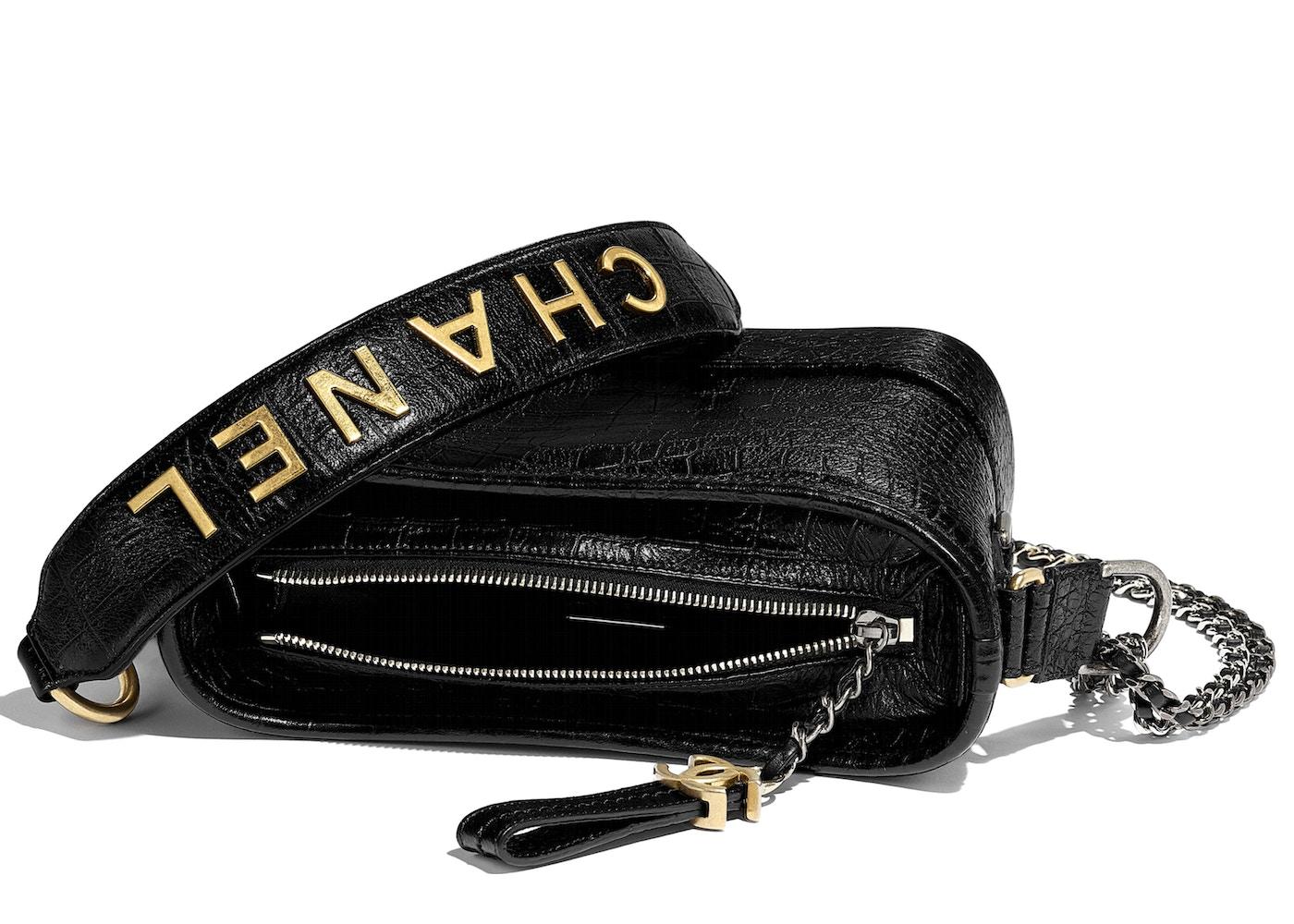 3852f1b8347a91 Chanel Gabrielle Hobo Bag Crocodile Embossed Calfskin Gold/Silver-tone Small  Black