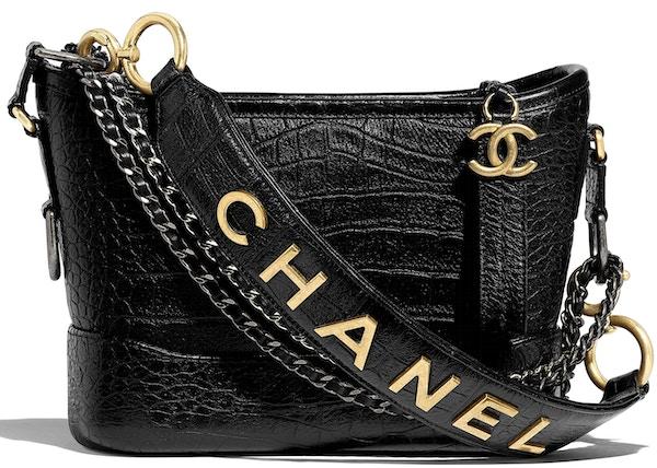 755f5a893b Chanel Gabrielle Hobo Bag Crocodile Embossed Calfskin Gold/Silver-tone Small  Black