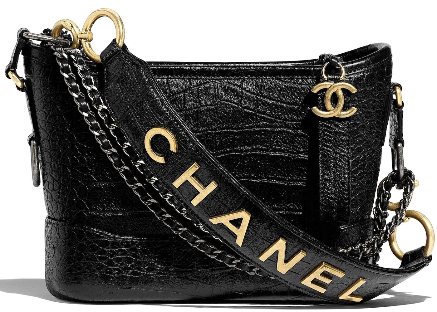 9d02b6e1a810f1 Chanel Gabrielle Hobo Bag Crocodile Embossed Calfskin Gold/Silver-tone Small  Black. Crocodile Embossed Calfskin Gold/Silver-tone Small Black