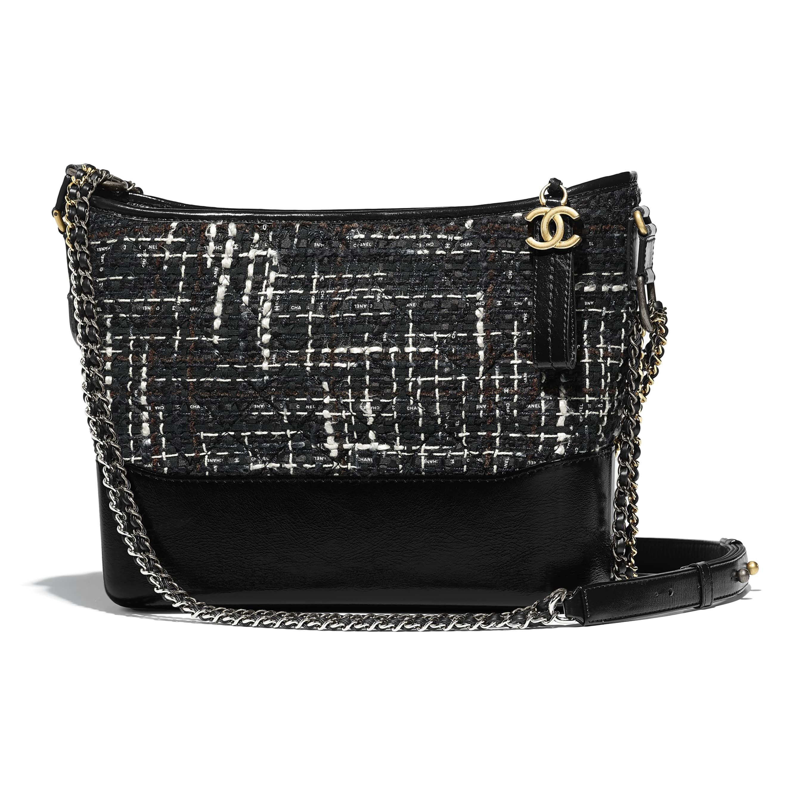 Chanel Gabrielle Hobo Bag Tweed Silver/Gold-tone Black Multicolor