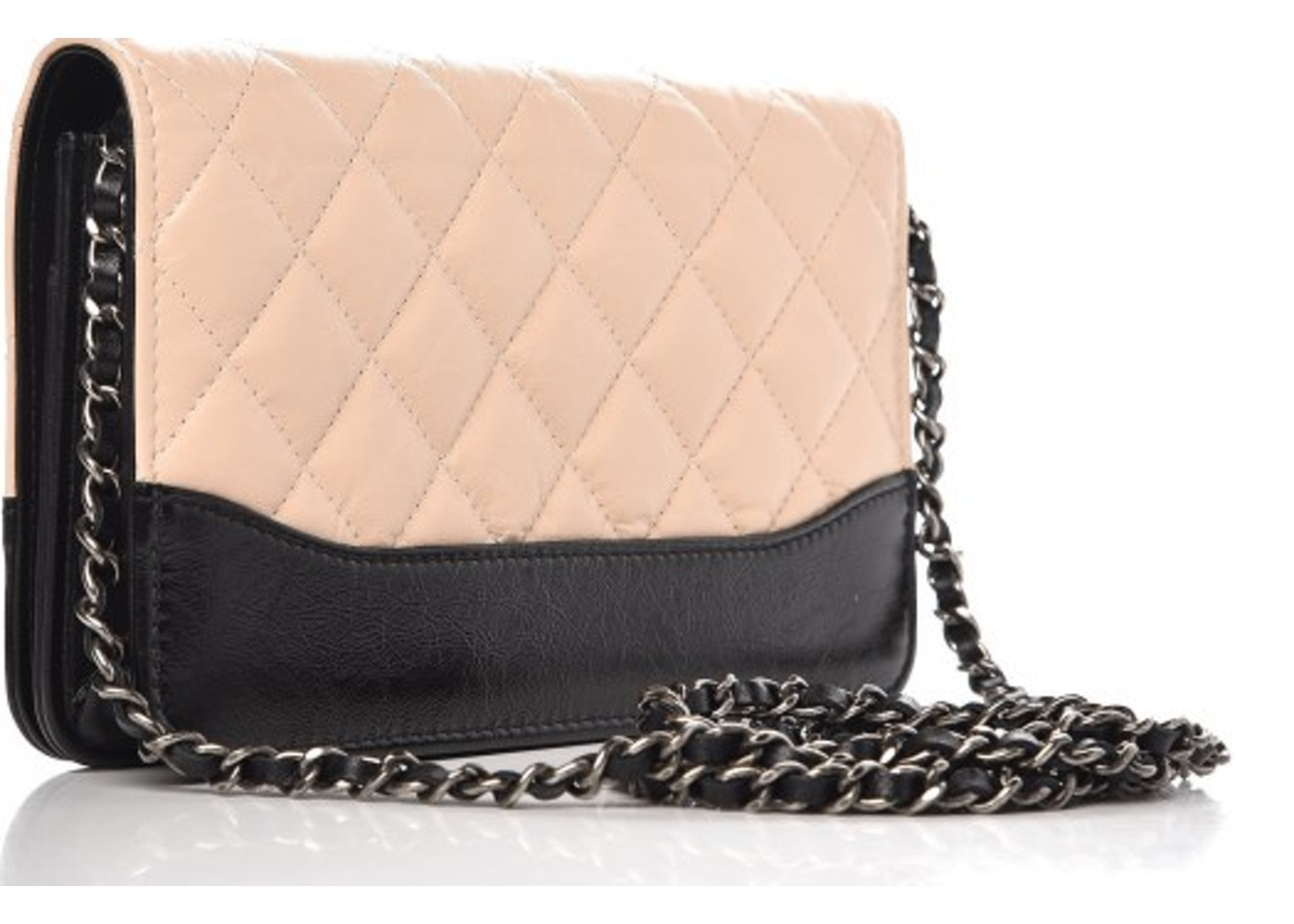 681ff2881d90 Chanel Gabrielle Wallet On Chain Quilted Aged Calfskin Silver/Gold-tone  Beige/Black