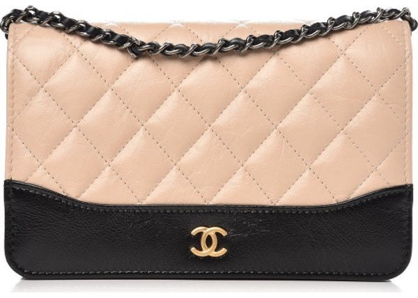 15e36ddf1e2b Chanel Gabrielle Wallet On Chain Quilted Aged Calfskin Silver/Gold-tone  Beige/Black