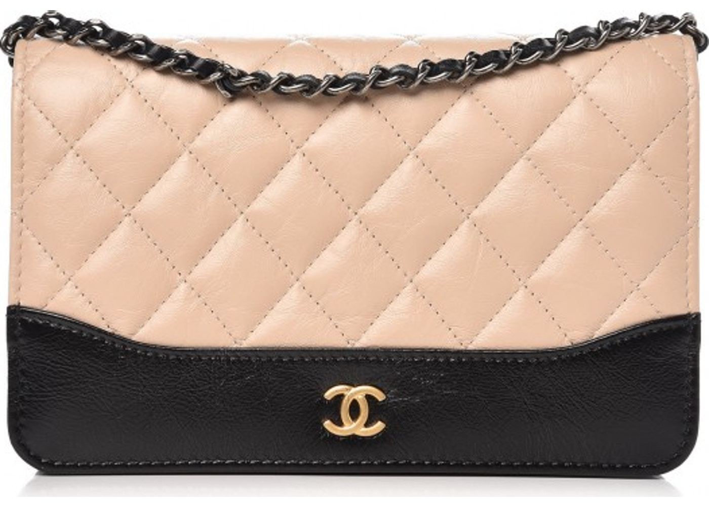6eb18f725a6a Chanel Gabrielle Wallet On Chain Quilted Aged Calfskin Silver/Gold ...