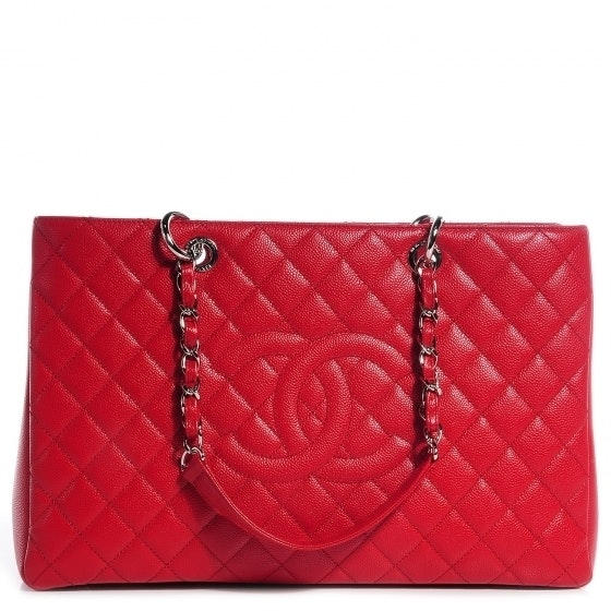Chanel Grand Shopping Tote Quilted XL Red