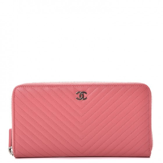 Chanel Gusset Zip Around Wallet Quilted Chevron Large Pink