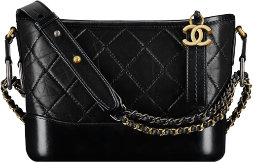 Chanel Gabrielle Hobo Diamond Gabrielle Quilted Aged/Smooth Small Black