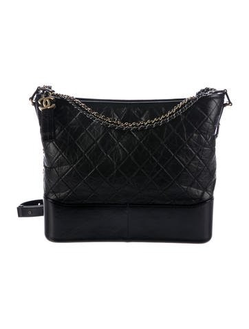 Chanel Gabrielle Hobo Diamond Gabrielle Quilted Smooth Large Black