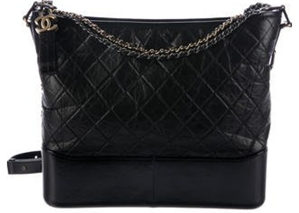 558b5ed8de6c92 Chanel Gabrielle Hobo Diamond Gabrielle Quilted Smooth Large Black