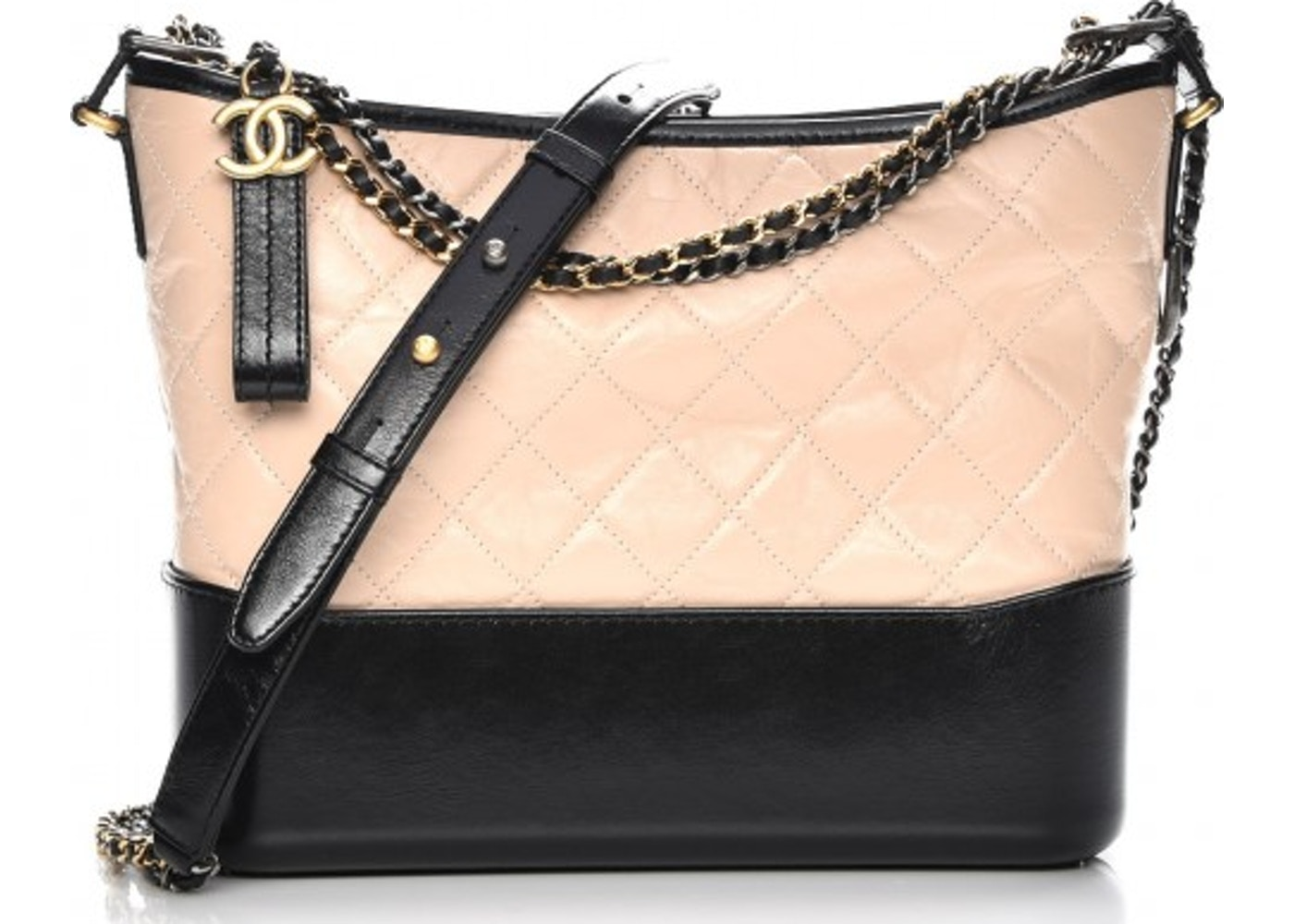 1595a0fa83e6 Chanel Gabrielle Hobo Quilted Diamond Medium Beige/Black. Quilted Diamond  Medium Beige/Black