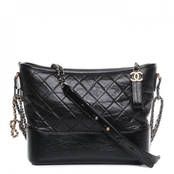 Chanel Gabrielle Hobo Quilted Diamond Aged Medium Black