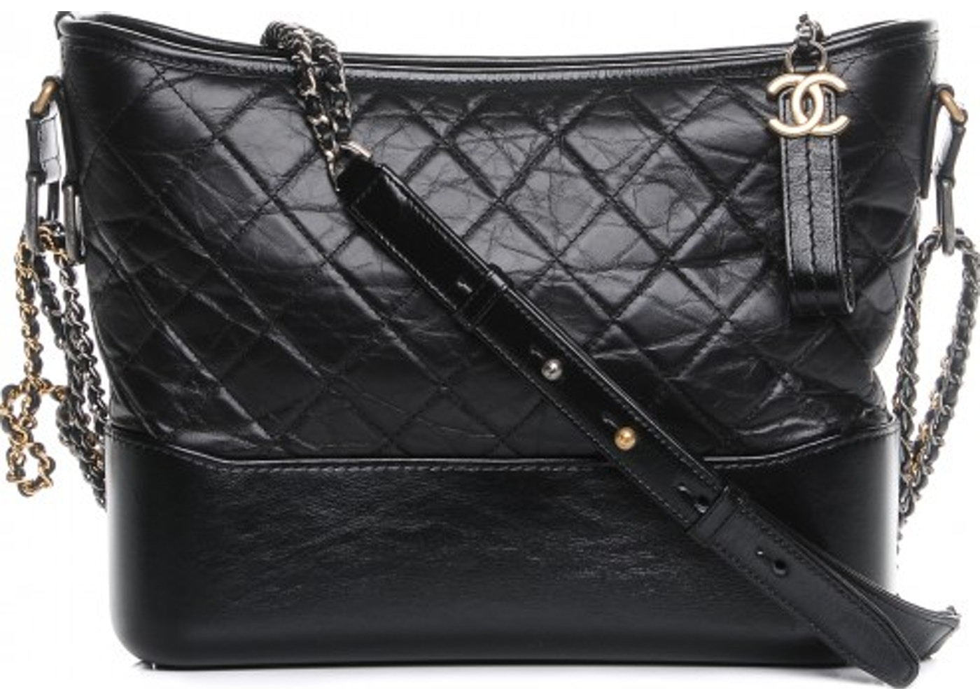 9b1ba4382019 Chanel Gabrielle Hobo Quilted Diamond Aged Medium Black. Quilted Diamond  Aged Medium Black