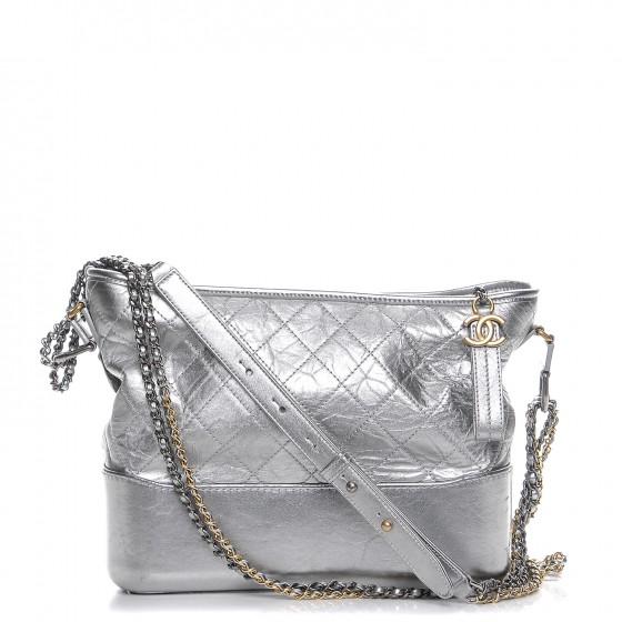 ec38fe203d70 Chanel Gabrielle Hobo Diamond Gabrielle Quilted Aged Medium Metallic Silver