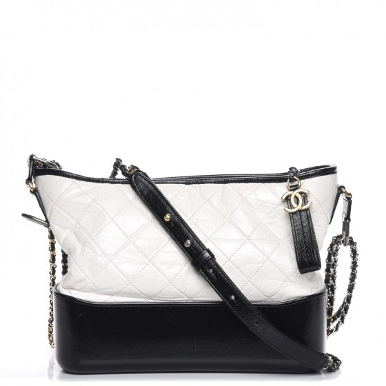 Chanel Gabrielle Hobo Diamond Gabrielle Quilted Aged/Smooth Medium White/Black