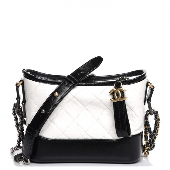 Chanel Gabrielle Hobo Quilted Diamond Small Black/White