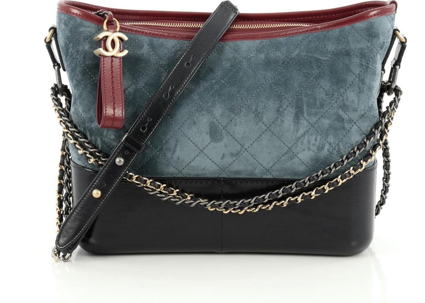 7d8c8245a1dbe7 Chanel Tricolor Hobo Gabrielle Quilted Diamond Medium Blue/Red ...