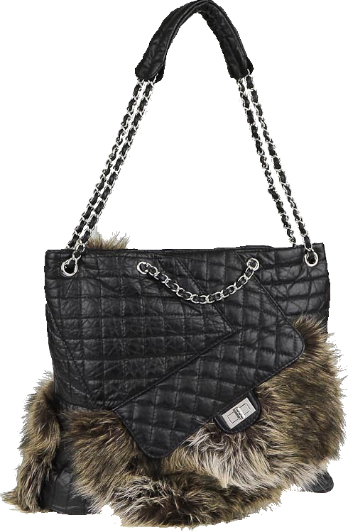 Chanel Karl'S Cabas Tote Fantasy Fur Quilted Aged Black