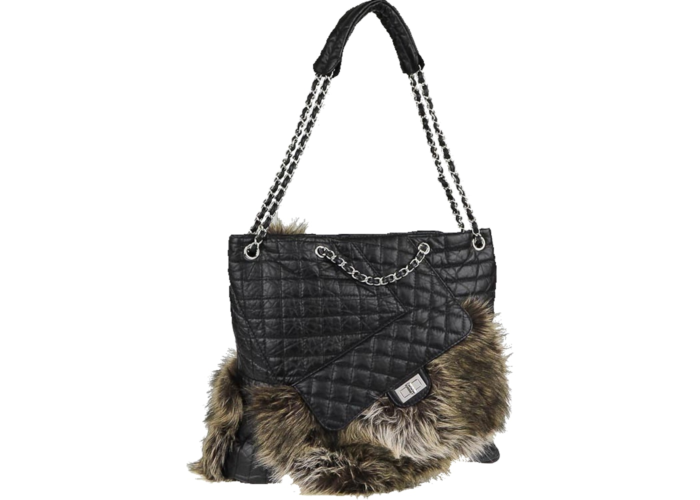 02ed7ede1d6ce7 Chanel Karl'S Cabas Tote Fantasy Fur Quilted Aged Black