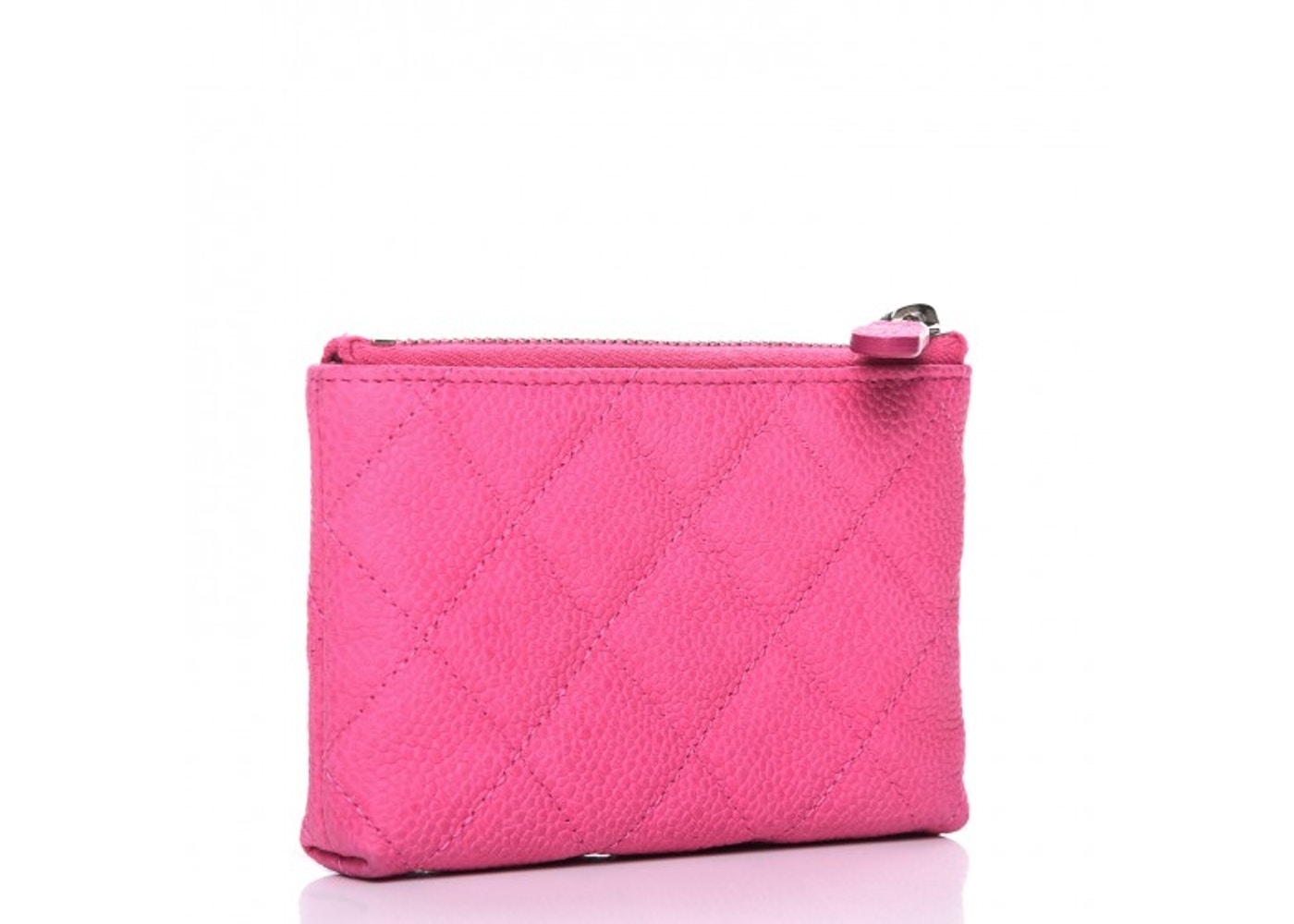 20a31324 Chanel Key Holder Case Quilted Diamond Iridescent Pink