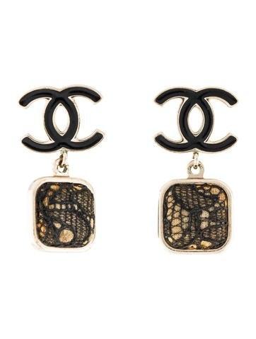 Chanel Lace Drop Earrings Black