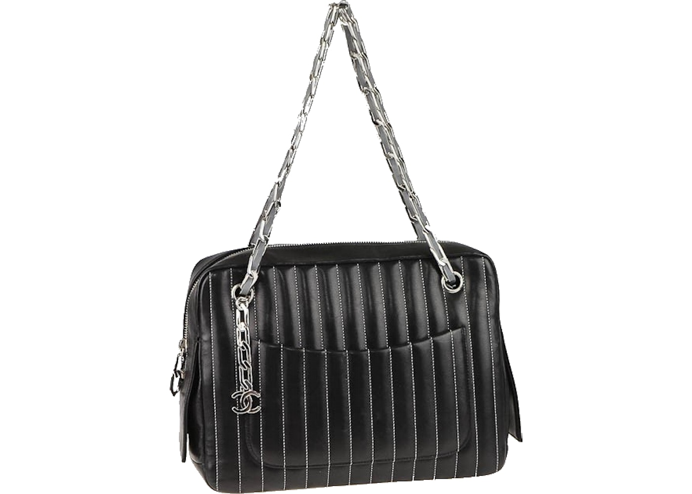 91d0e822d14628 Sell. or Ask. View All Bids. Chanel Mademoiselle Camera Bag Quilted Vertical  Stitched Medium Black