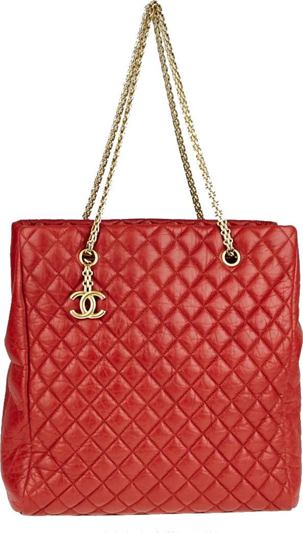 Chanel Mademoiselle Tote Quilted Crinkled Large Dark Red