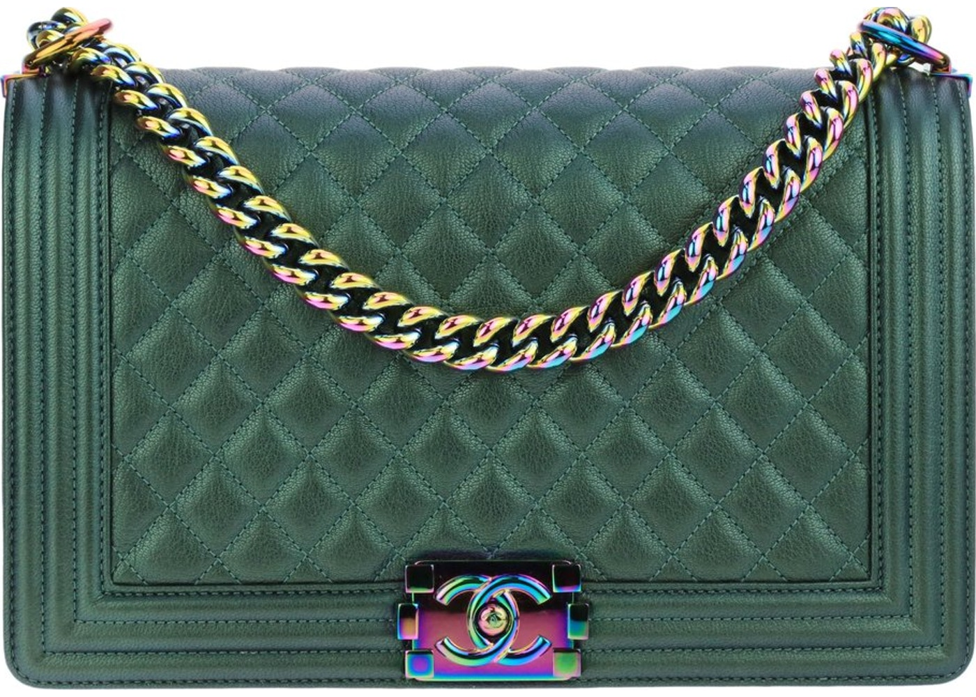 85c195cffbda5d Chanel Mermaid Boy Bag Calfskin Leather Medium Iridescent Green