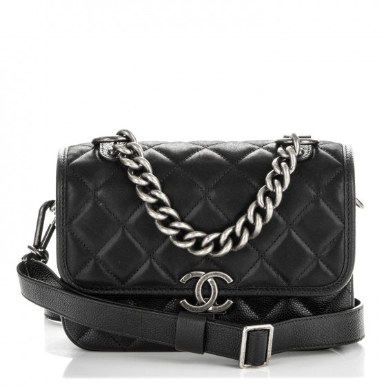 Chanel Daily Carry Messenger Quilted Diamond Iridescent Small Black