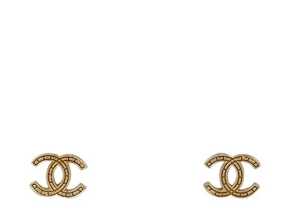 Chanel Mini CC Stud Earrings Gold-tone