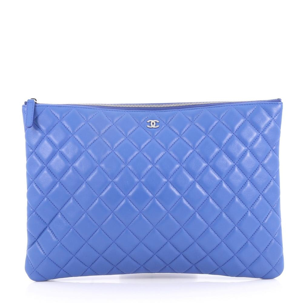 Chanel O Case Clutch Quilted Lambskin Silver-tone Large Blue