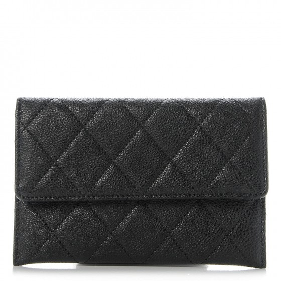 Chanel On Removable Chain Insert Wallet Quilted Diamond Black