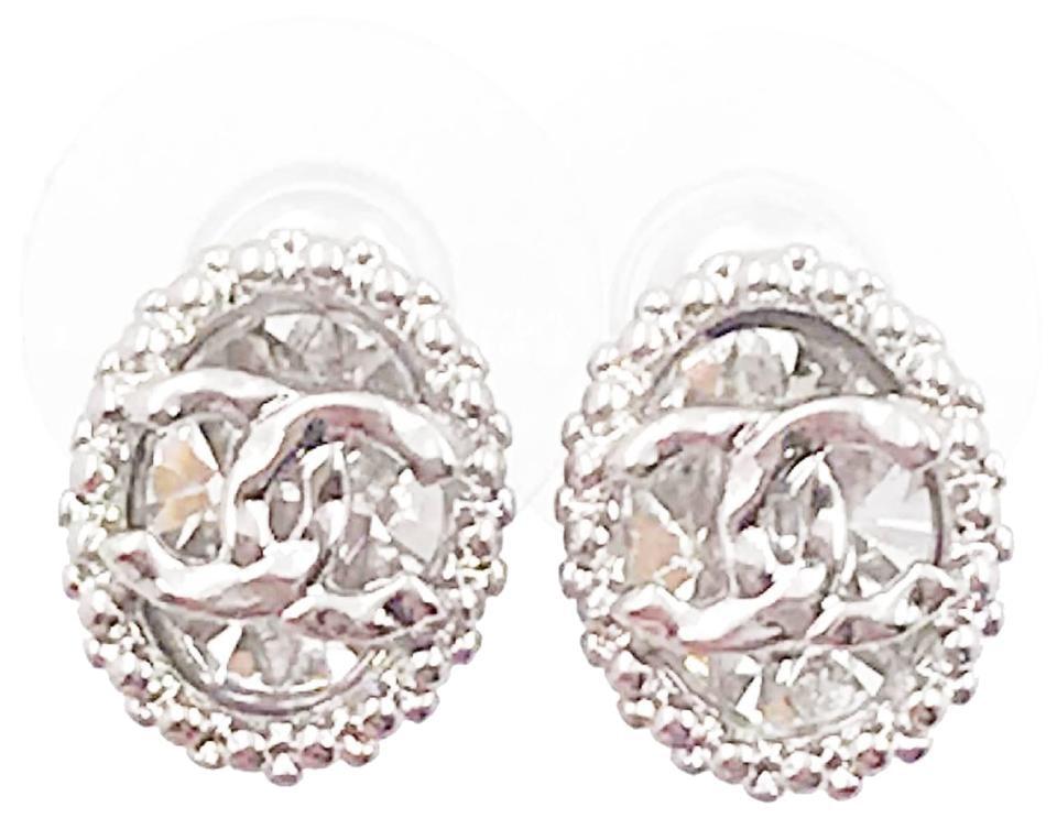 Chanel Oval CC Crystal Earrings Silver