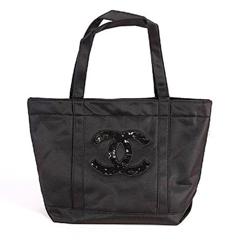 Chanel Percision VIP Tote CC Logo Sequin Black
