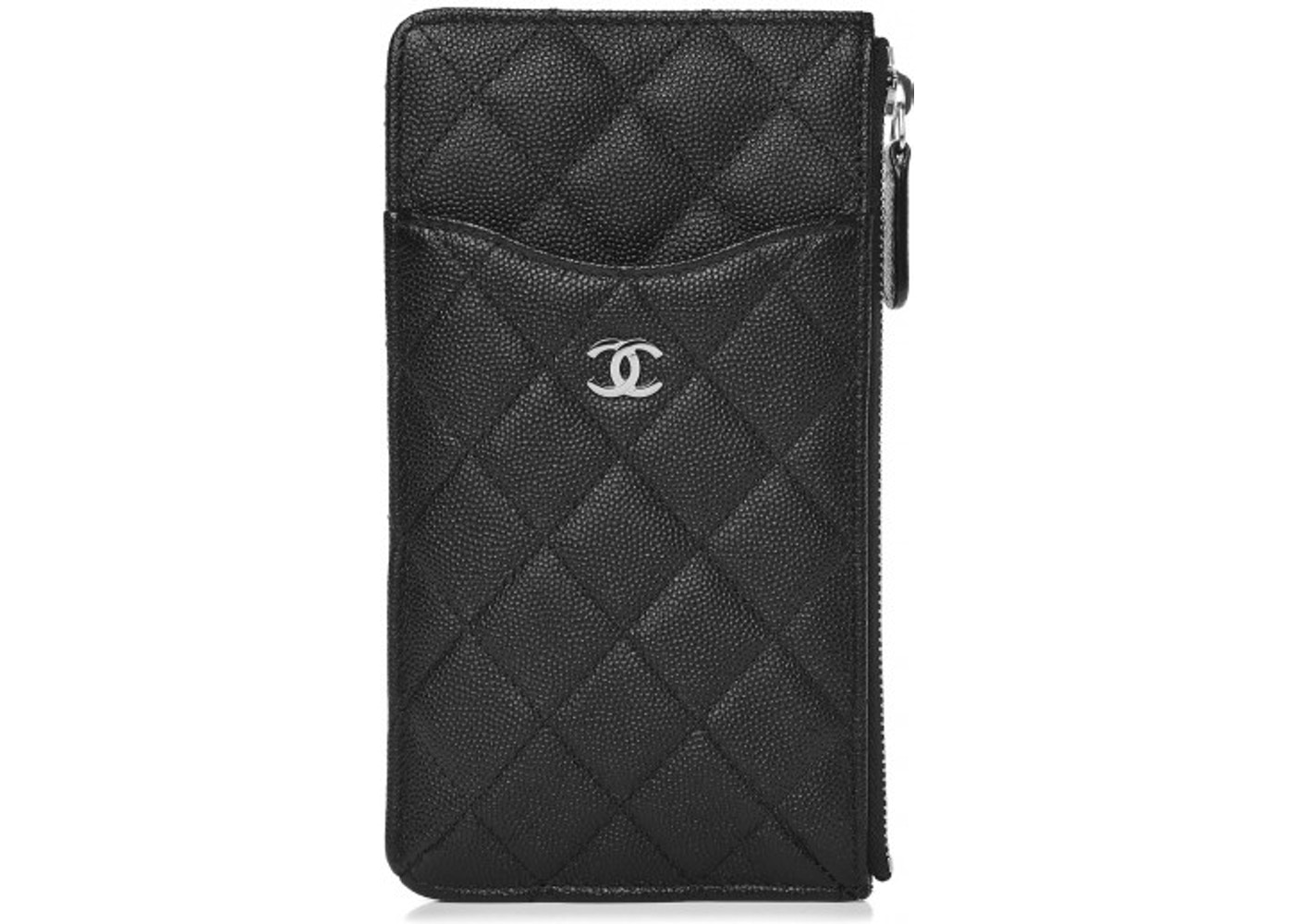 d50bea58ecb0 Chanel Classic Flat Wallet Pouch Quilted Caviar Silver-tone Black. Quilted  Caviar Silver-tone Black