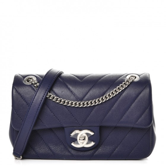 Chanel Rectangular Flap Quilted Chevron Mini Navy Blue