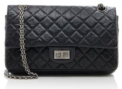 Chanel Reissue 2.55 Classic Double Flap Quilted Aged  225 Black