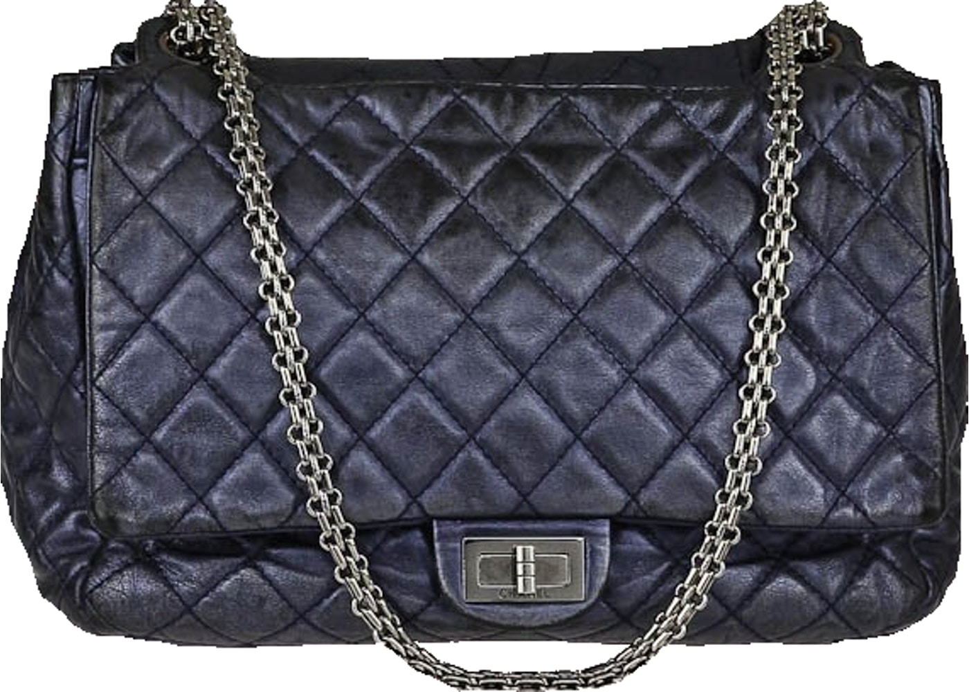 bcf5189d90e6f8 Sell. or Ask. View All Bids. Chanel Reissue 2.55 Accordion Flap Quilted  Metallic Large Navy Blue