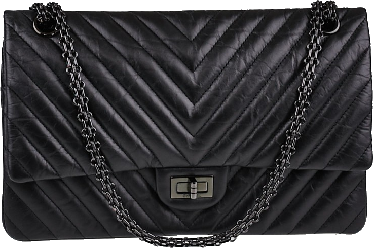 Chanel Reissue 2.55 Classic Double Flap Quilted Chevron 226 Black