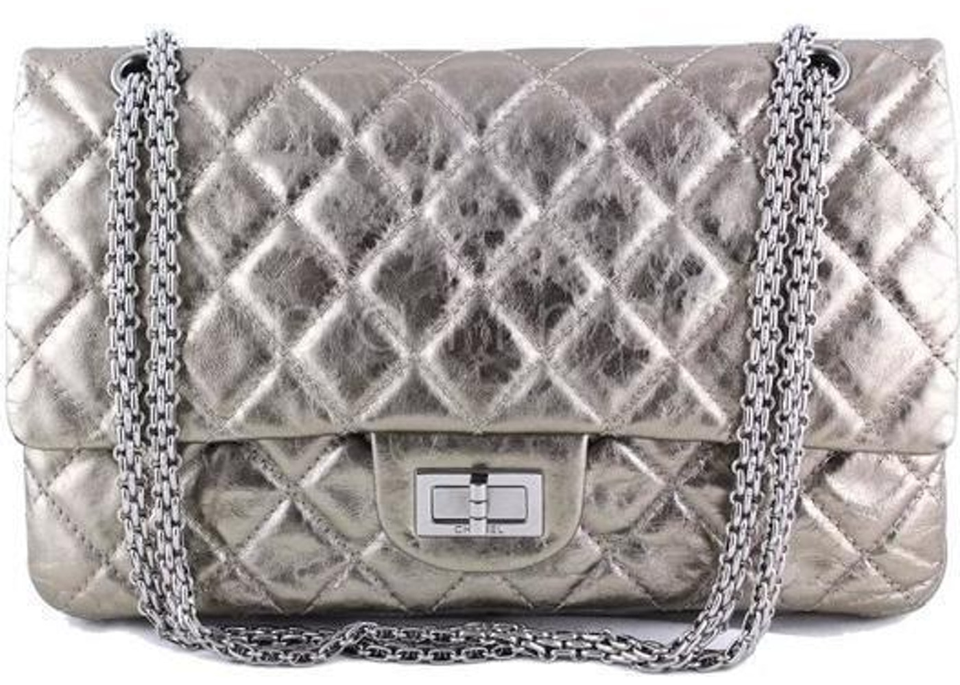41180ae139ecae Sell. or Ask. View All Bids. Chanel Reissue 2.55 Classic Double Flap Quilted  Metallic 227 Silver