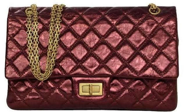 Chanel Reissue 2.55 Classic Double Flap Quilted Metallic 227 Red
