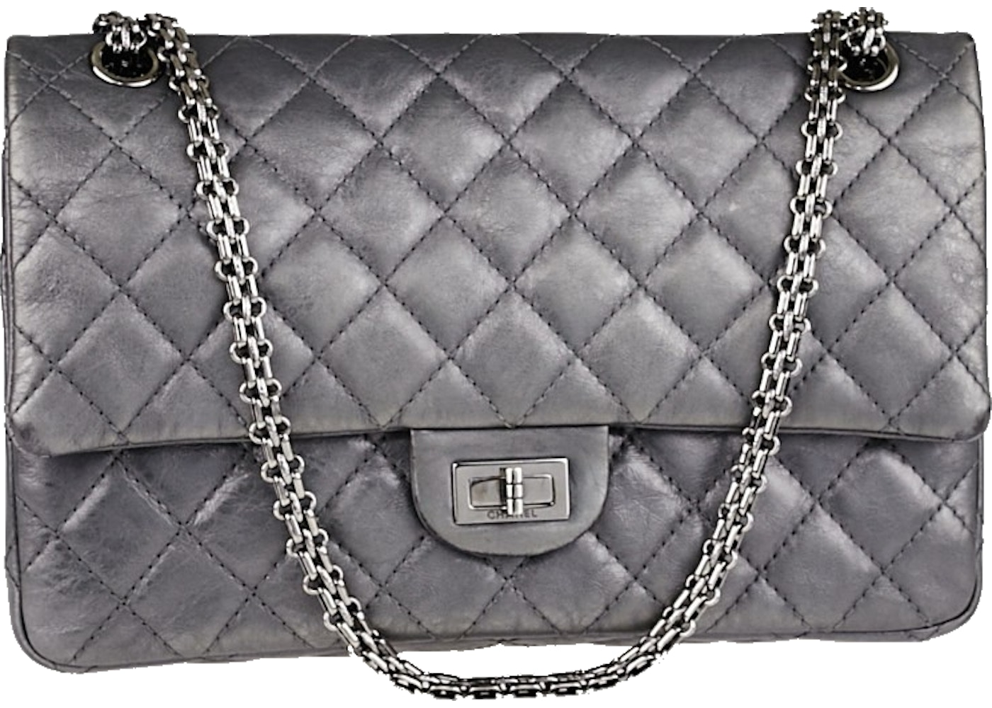 c511718dfa68 Chanel Reissue 2.55 Classic Double Flap Quilted metallic 226 Argent ...