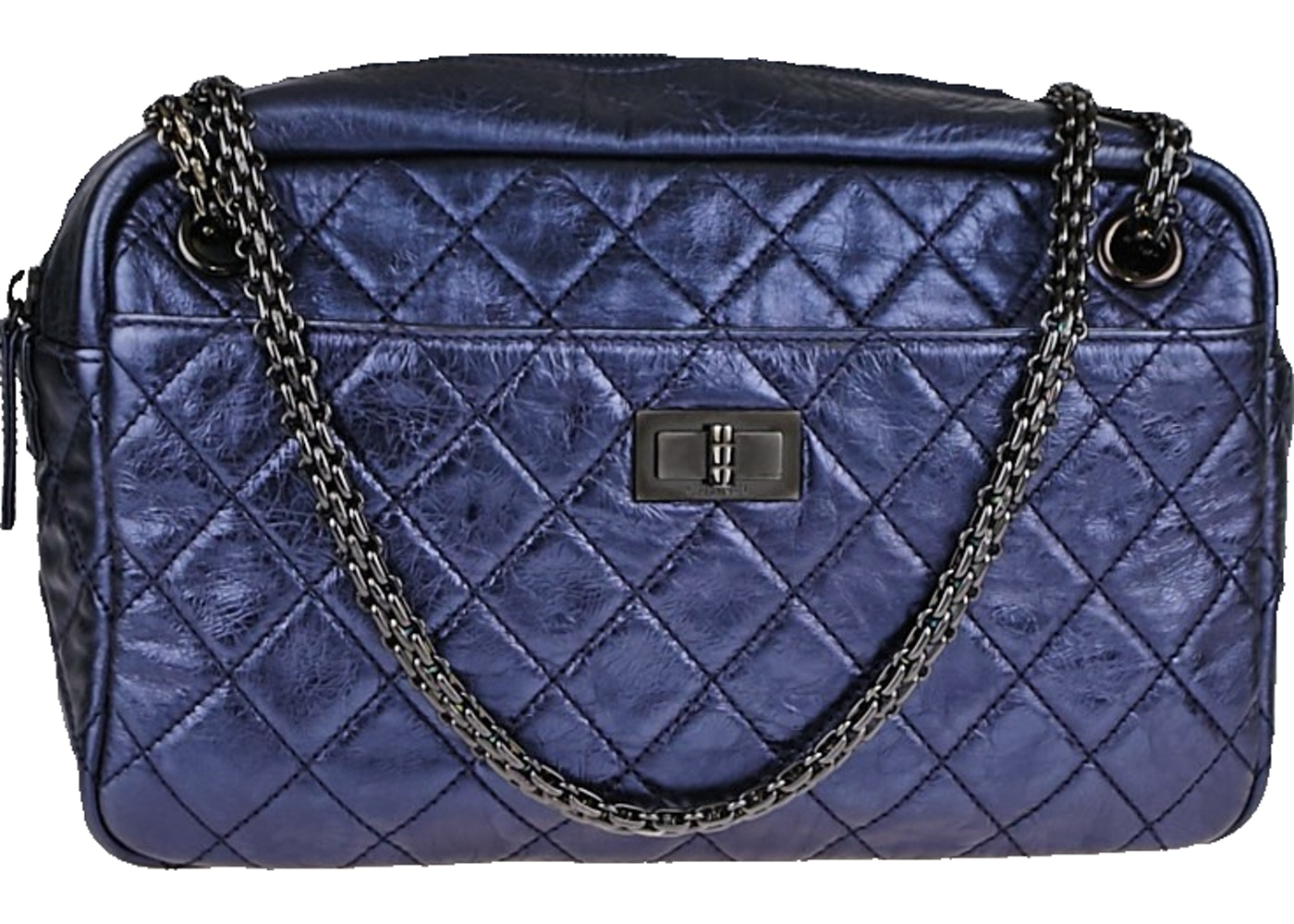 22216a1dcf97 Chanel Reissue Camera bag Quilted Metallic Medium Blue