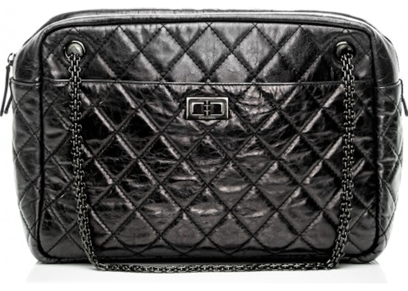 d29583316a461a Chanel Reissue Camera Case Quilted Aged Large Metallic Black. Quilted Aged  Large Metallic Black