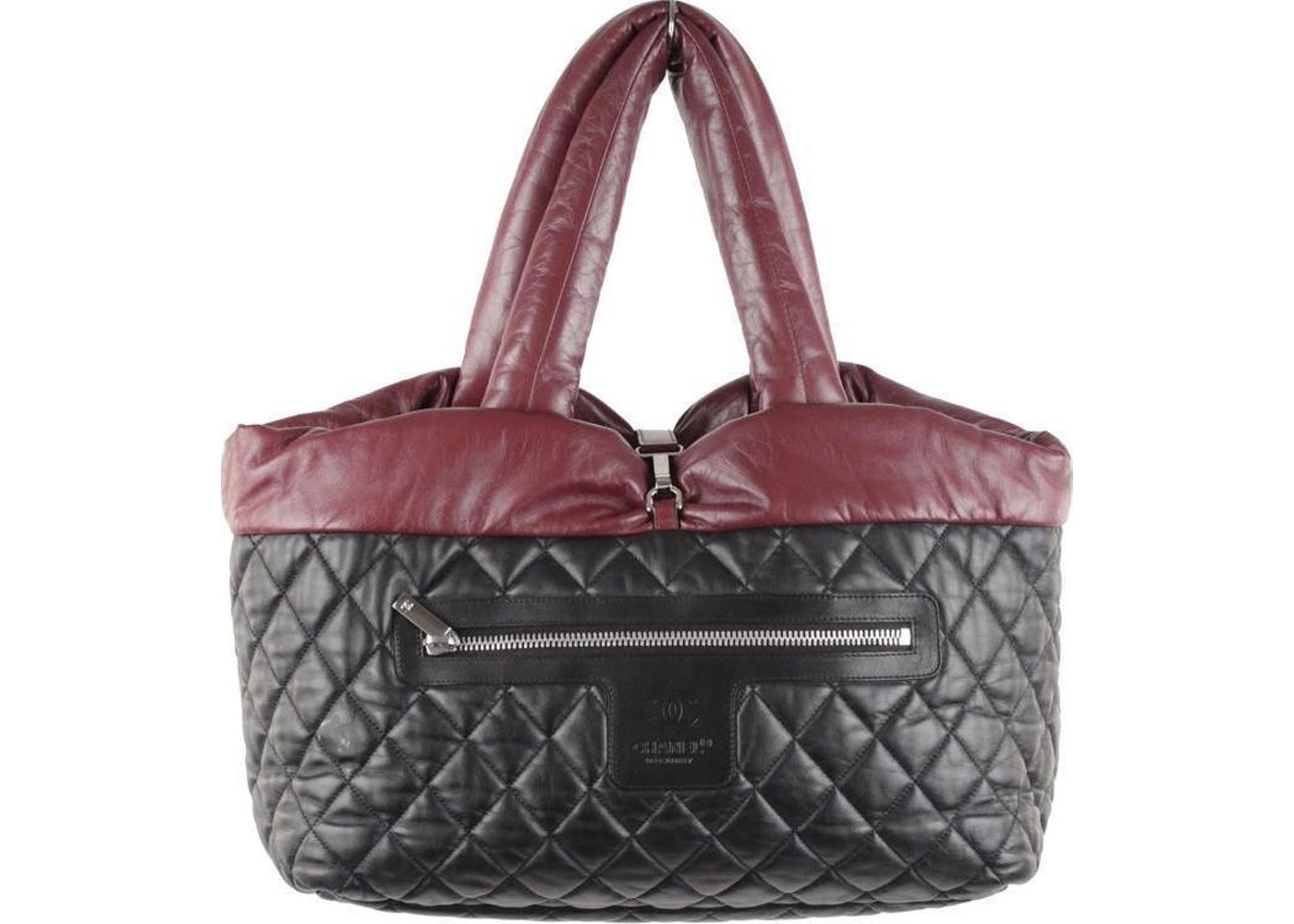e66e39f40f Chanel Reversible Tote Coco Cocoon Quilted Black Burgandy